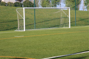 Artificial turf - picture of goal net on artificial turf field
