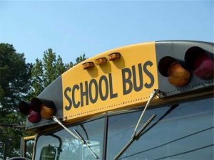 Safety Sensors - photo of windshield of yellow school bus